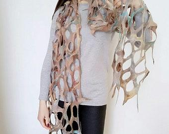 Felt scarf Boho shawl Lace felt scarf Wearable art Merino wool Unique scarf Fashion scarf art Extra long scarf Scarf with holes Women gift