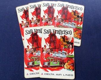 6 Retro San Francisco Delta Air Lines Vintage Playing Cards