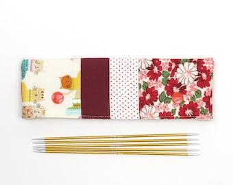 Cat DPN cozy for 6 inch / 15cm sock needles, flowers and kitties patchwork DPN holder