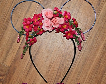 Sleeping Beauty Floral Wire Mickey Ears