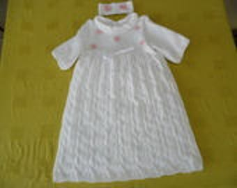 Baptism with flowers and Ribbon dress size 6 months