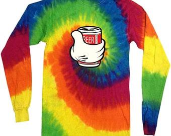 Beer gifts for men long sleeve shirt tie dye shirt