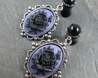 Dangle Plugs - 10g - 8g - 6g - 4g - 2g - 0g - Wedding Plugs - Gothic Wedding - Plug Earrings - Wedding Gauges - Black Rose Plugs