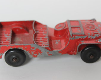 Vintage Tootsietoy Army Jeep Red Car Die Cast Metal Large antique red toy jeep antique collectible car