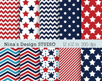 50% SALE INSTANT DOWNLOAD  4th of July digital scrapbook papers  for Personal and Commercial use Scrapbooking