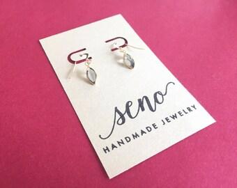 Swarovski channel stones earrings, gold filled hooks, plastic hooks available.