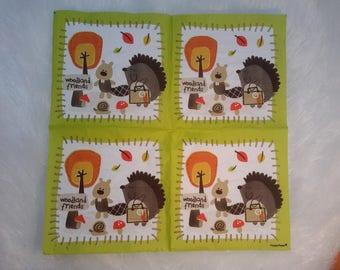 Set of 2 paper napkins for decoupage of a hedgehog
