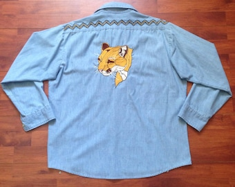 70's Chain Stitched Mountain Lion Chambray Sears Work Shirt - Fits Like L - Made in USA