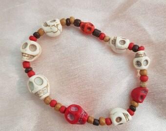 Red and white skull bracelet