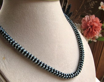 18-inch Quadralentil Beaded Necklace in Navy Blue Suede and Sky Blue