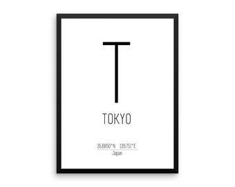 Tokyo Print, Tokyo Printable Art, Tokyo Coordinates, Instant Download, Digital Download, Jpg, Pdf, Japan Poster, Wall Art Gift