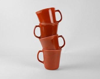 Corning Mugs, 4 Autumn Harvest Coffee Mugs, Burnt Sienna Corning Ware, 70's Retro Kitchen Decor, Burnt Orange Coffee Cups