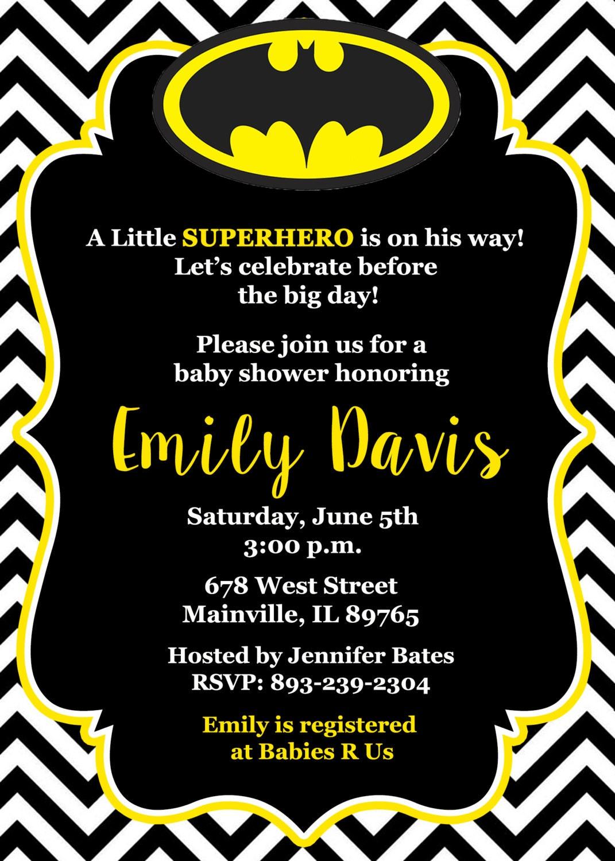 Batman Baby Shower Invitation Baby Invitation Superhero