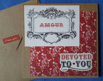 Devoted to You Amour Handmade Love Card - Recycled Kraft Paper Square Greeting Card, Blank Card,