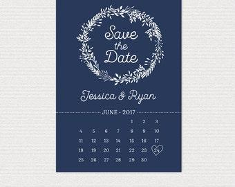 Simple Wedding Save the Date  • Calendar • Wreath Leaves • Custom Colors • Wedding • DIY printable