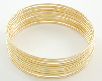 Stack of 10 Bangles, Thin Gold bangles, Solid 14k gold, super thin 1mm, plain simple gold bangles, Set of 10 ten, Lidia Bastianich Bracelets