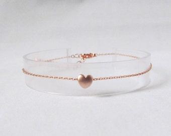 rose gold heart bracelet dainty thin delicate bracelet minimalist jewelry