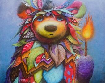 Bear Print -  Painting -  Cute - Prints - Nature - Bird