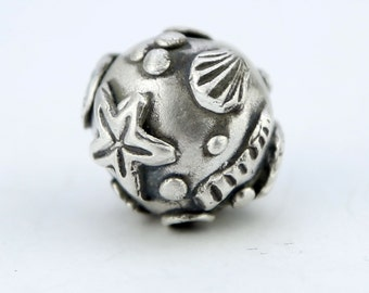 Nautical Handmade Sterling Silver Bead Hand Sculpted beachy bead