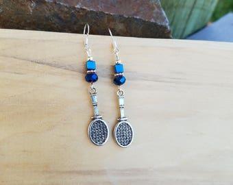 Blue Racket Tennis Earrings, Blue Tennis Racket Sterling Silver Earrings, Blue Tennis Sterling Earrings, Blue Tennis Racket Earrings