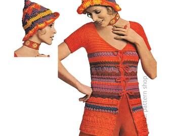 Striped Sweater, Pixie Hat Crochet Pattern Womens Tie Front Top Jumper Instant Download PDF Pattern- C210