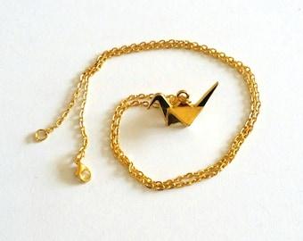 Origami crane goldtone necklace
