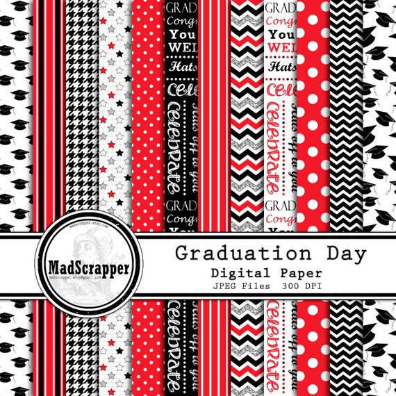 Digital Scrapbook Paper Graduation Day Black And Red 12 Patterns 4