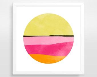 Pink Abstract Art Print, Abstract Wall Art, Mid Century Modern Art, Office Decor, Pink Art, Office Wall Art, Modern Minimalist Art, 12x12