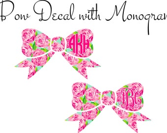 Monogram Car Decal, Bow Decal with Monogram