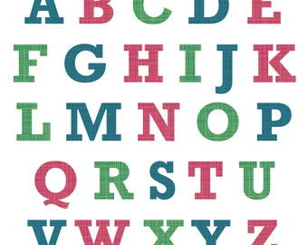Fabric Patterned Alphabet Wall Stickers