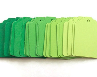 Funky Tags  Paper Gift Tags in  Fresh Greens Set of 50