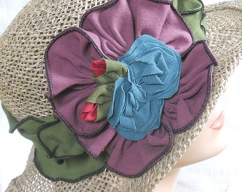 Seagrass Straw Hat - Organic jersey Band and Flowers - Moss Green and Dusty Purple - Nellie Jane