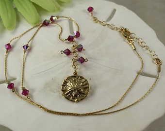 SALE Sand Dollar Necklace, Dark Pink Sand Dollar Necklace, Crystal Sand Dollar Necklace, Gold Necklace