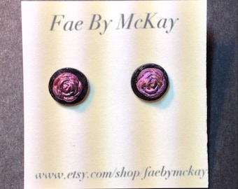 Pastel Goth Punk Purple and Black Rose Polymer Clay Stud Earrings