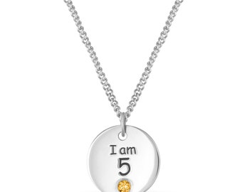 5th Birthday Necklace, Sterling Silver I am 5 Disc Necklace, 5th Birthday Gift, Personalized Birthstone Pendant for Girl Jewelry Gift Ideas