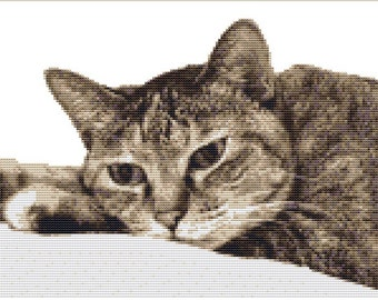 CROSS STITCH KIT - Tabby Cat 30 cm x 20 cm