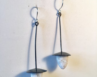 Common Opal blackened silver earrings