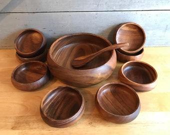 Teak 10-piece salad bowl set