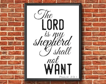 Bible Verse Print   Psalm 23 1 Print   Scripture Wall Art   Lord Is My Shepherd   Bible Verse Wall Art   Scripture Print   Psalm 23 Print
