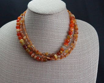 Triple Strand Agate and Carnelian Necklace