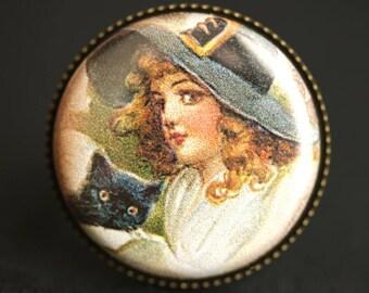 Autumn Pilgrim Ring. Thanksgiving Ring. Vintage Postcard Button Ring. Adjustable Ring. Bronze Ring. Fall Jewelry. Handmade Ring.