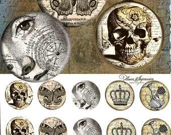 "Vintage skull 25mm -  One 4x6 high-resolution, 300dpi, JPEG file with 15 1"" Circle images."