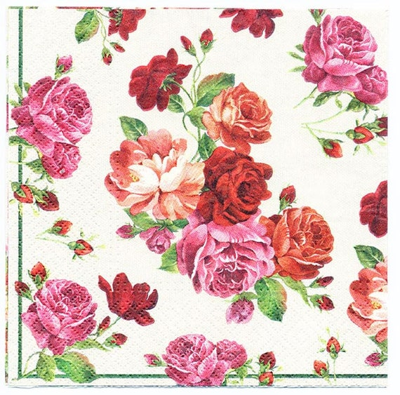 4 Decoupage Napkins Shower of Roses Floral Napkins