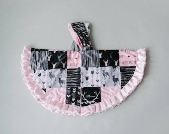 Pink Deer Poncho - Round Ponchos - Minky Ponchos - Child Ponchos - Woodland Poncho -  Baby PONCHO- Car Seat Safe- All MINKY-