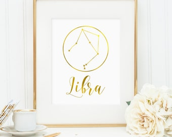 Libra print, Libra constellation, Gift for Libra, Libra Zodiac, Libra faux gold foil printable art, faux gold foil wall art (digital JPG)