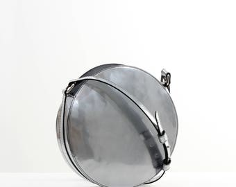 Silver leather crossbody bag, round bag, leather shoulder bag, circle bag, leather crossbody, leather bag, leather handbag, cross body bag