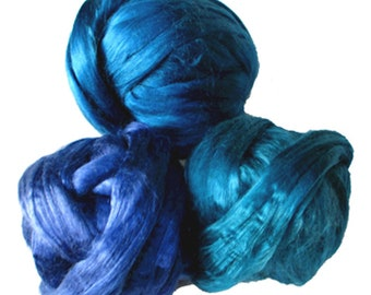 Dyed Mulberry Silk Roving: Blues, for Spinning, Felting, Blending, Fiber Arts, Textile Art, 30 gm