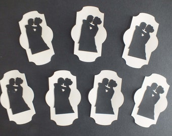 7 Bride and Groom Black Silhouette Plaques Couples Bride and Groom cream plaques