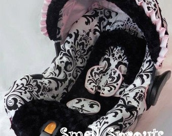 Isabella Large Black and White Damask/Black MInky/Pink Trim Infant Car Seat Cover 5 piece set