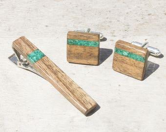 Groomsmen gift, malachite inlay, 5th anniversary gift, wood anniversary, cufflinks